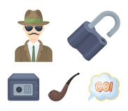 Lock hacked, safe, smoking pipe, private detective.Detective set collection icons in cartoon style vector symbol stock. Illustration Stock Images