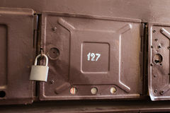 Lock hangs on the box for mail Royalty Free Stock Photo