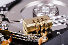 Lock on hdd or harddrive, part of computer, cyber security concept Royalty Free Stock Photo