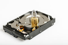 Lock on hdd or harddrive, part of computer, cyber security concept Royalty Free Stock Image