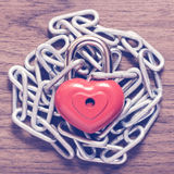 Lock heart with chain Stock Photography