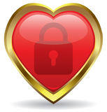 Lock in the heart icon Royalty Free Stock Photo