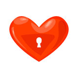 Lock heart icon. Illustration of lock red heart isolated vector icon Royalty Free Stock Photos