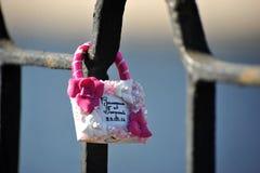 Lock-heart on a lattice bridge Stock Images
