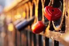 Lock in heart shape on the bridge Stock Photography