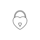 Lock heart shaped line icon, Love sign Valentines Royalty Free Stock Images