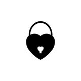 Lock heart shaped solid icon, Love sign Valentines Royalty Free Stock Photography