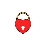 Lock heart shaped solid icon, Love sign Valentines Royalty Free Stock Images