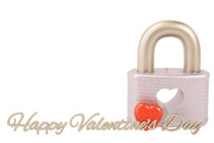 Lock with heart,Valentine`s Day Background. 3D illustration. Lock with heart,Valentine`s Day Background Royalty Free Stock Images