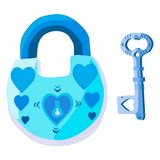 A lock with hearts and a key to the ladies` heart royalty free illustration