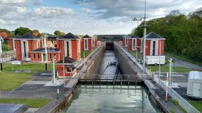 Lock at ship canal in Hannover Germany Royalty Free Stock Photos
