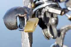 Lock on the historic monument. Stock Photos