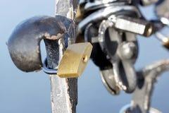 Lock on the historic monument. Stock Photos