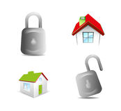 Lock and house icon vector Royalty Free Stock Photo