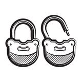Lock icon black and white vector illustration. Royalty Free Stock Image