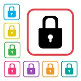 Lock icon. Colorful set additional versions icons. Vector. Illustration vector illustration