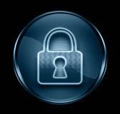 Lock icon dark blue. Lock icon dark blue,  on black background Stock Photos