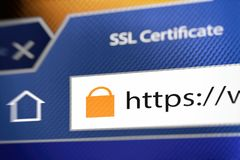 Lock icon during SSL connection Stock Photography