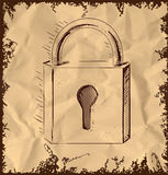 Lock icon  on vintage background Royalty Free Stock Photo