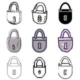 Lock icons set. Grey lock icons vector set royalty free illustration