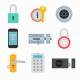 Lock icons vector set in a flat style royalty free illustration
