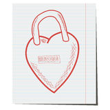 The lock ID in the shape of a heart ,a hand-drawn. For design in the field of wedding Royalty Free Stock Image