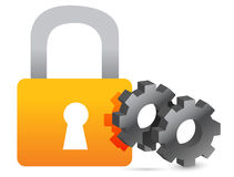 Lock and industrial gears illustration Royalty Free Stock Photography