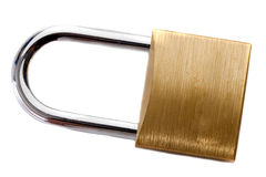 Lock iron closed on a white background Royalty Free Stock Photos