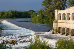 Lock on Isonzo River near Sagrado Stock Photography