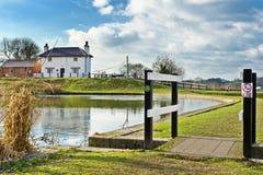 Lock-keeper's cottage, Foxton locks. Quiet, calm day at Foxton Locks, England stock photos