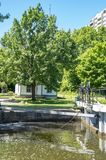 Lock Keeper`s Cottage 2. The Rideau Canal opened in 1832 connects Ottawa to the Great Lakes and St. Lawrence River running 202 kilometers. There are many locks stock photo