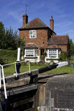 Lock keepers cottage. Hatton lock flight, grand union mail line canal, Warwickshire, England, uk royalty free stock photo