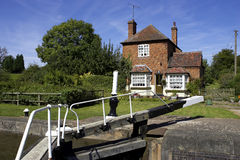 Lock keepers cottage. Hatton lock flight, grand union mail line canal, Warwickshire, England, uk royalty free stock image