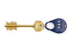 Lock and key. Blue handled combination lock isolated and yellow key Stock Photos