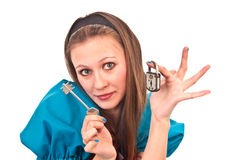 Lock and key. The nice girl holds the lock and a key Stock Photography