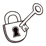 Lock and Key. Black and white illustration of a lock and key Royalty Free Stock Photography