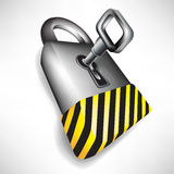 Lock with key and attention sign Royalty Free Stock Photography
