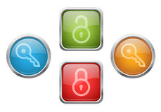 Lock and key buttons Stock Photography