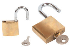 Lock and Key (with Clipping Path) Royalty Free Stock Images