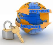 Lock with key and globe Stock Images