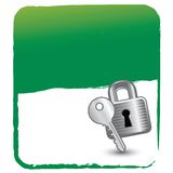 Lock and key on green background Royalty Free Stock Photography