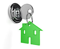 Lock and key with home shaped keyring home Royalty Free Stock Images