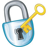 Lock and Key icon. Stylized lock  and key icon or symbol Stock Photography