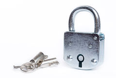 Lock with key isolated Stock Images
