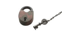 Lock and key isolated over white Royalty Free Stock Photography