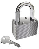 Lock and Key. Isolated and realistic chrome pad lock and key Stock Images