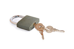 Lock and key isolated on white background Stock Images