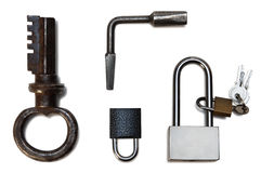 lock and key isolated on white background Stock Photo