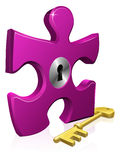 Lock and key jigsaw piece Stock Image