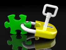 Lock, key and puzzle Stock Photography
